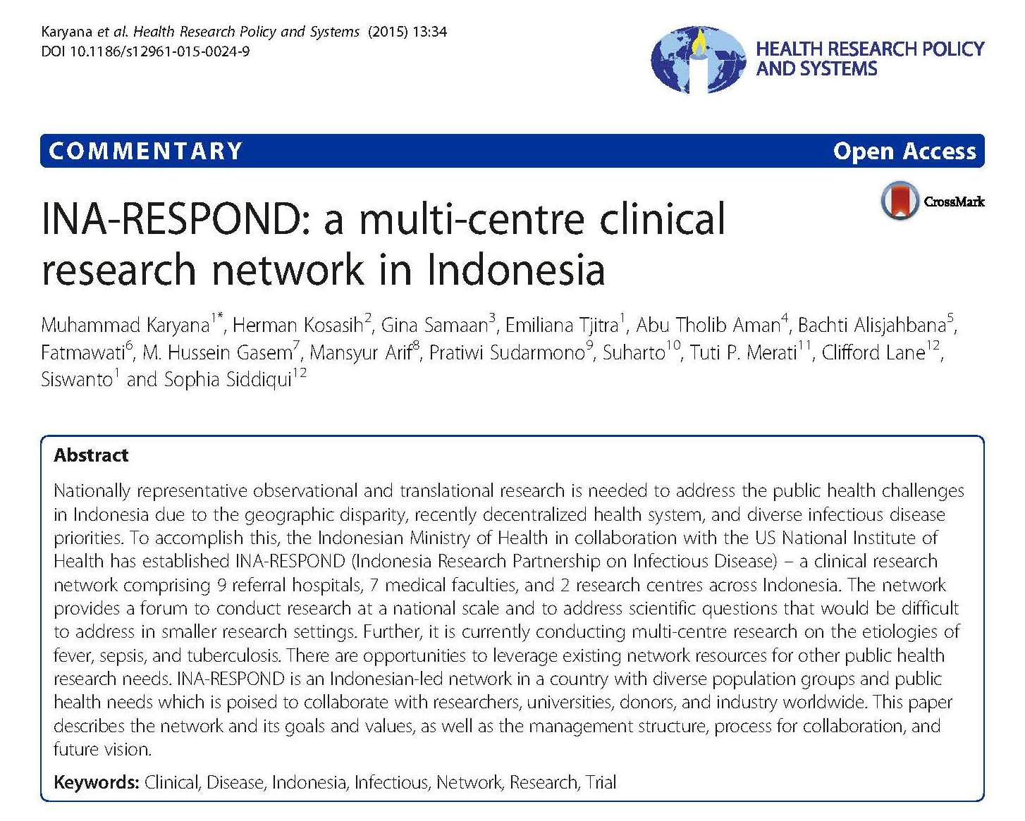 INA-RESPOND a multi-centre clinical research network in Indonesia
